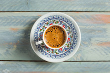 Turkish Coffee On Wooden Backg...