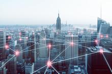 Netzwerk über Großstadt