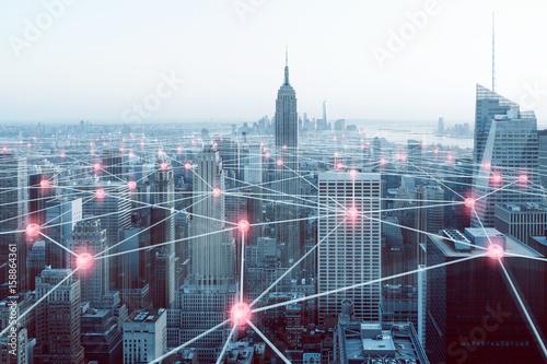 Cuadros en Lienzo Netzwerk über Großstadt