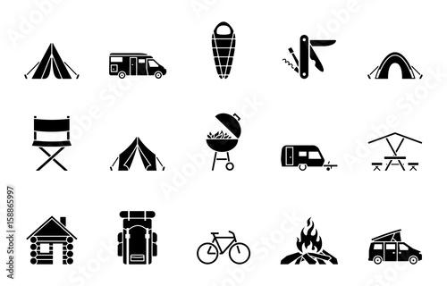 Fotografie, Obraz Camping Iconset - Schwarz