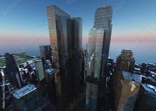 Fotografija  Beautiful view of the skyscrapers, modern city landscape, 3d rendering