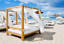 Beds In A Beach Club In Ibiza,...