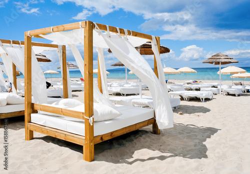 beds in a beach club in Ibiza, Spain
