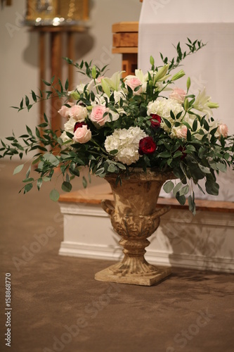 Wedding Decor Flowers Urn Of Pink White And Red Roses And