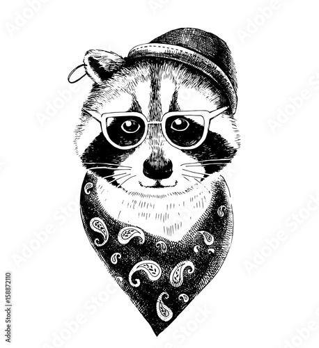 Hand drawn dressed up raccoon hipster