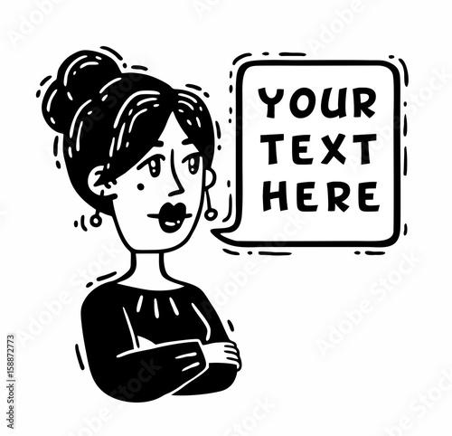 Plakat kobieta z założonymi rękami mówi czarne białe komiksy