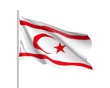 Waving Flag Of Northern Cyprus. Illustration Of Asian Country Flag On Flagpole. Vector 3d Icon Isolated On White Background