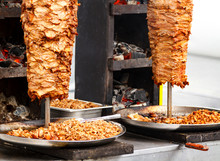 Closeup Picture Of Stacked Meat Roasting, Shawarma
