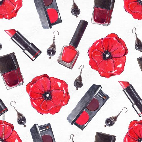 moda-zestaw-recznie-rysowane-w-jasnych-kolorach-z-olowkow-i-liniowej-w-kolorach-czerwonym-i-czarnym-na-bialym-papierze-akware