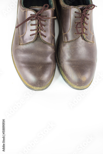 Pair Brown Leather Shoes Isolated On White Background