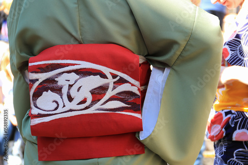 Red color banding sash with white embroidery on green kimono Canvas Print