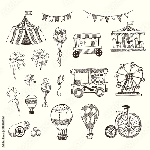 Fotografia, Obraz  Doodle Set of Circus elements isolated on white, Black contour for coloring