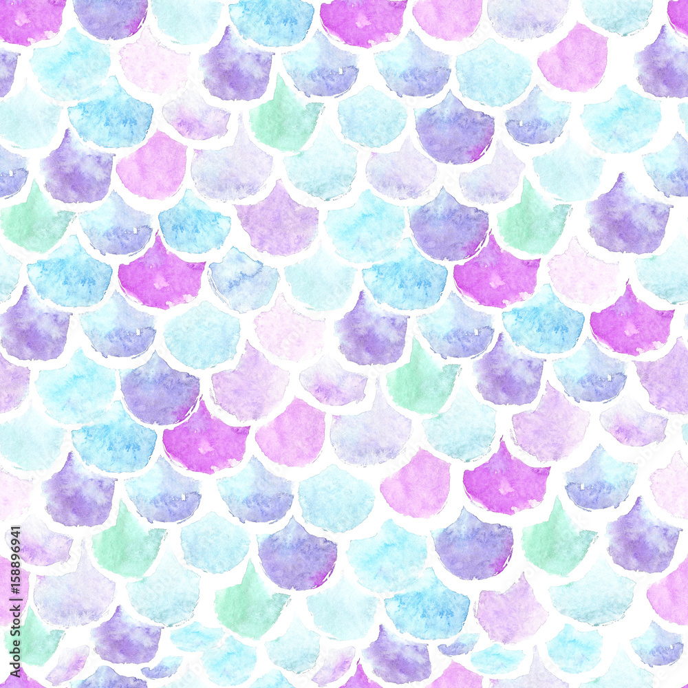 Watercolor seamless pattern scales