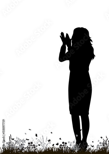 Vector, isolated silhouette girl applauding in nature Wallpaper Mural