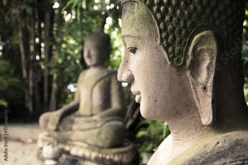 Buddha statues at the Royal Palace, Phnom Penh, Cambodia.