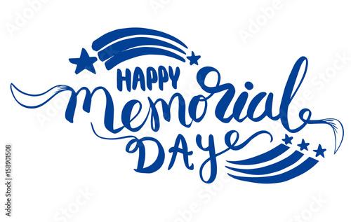 Staande foto Retro sign Happy Memorial Day lettering.