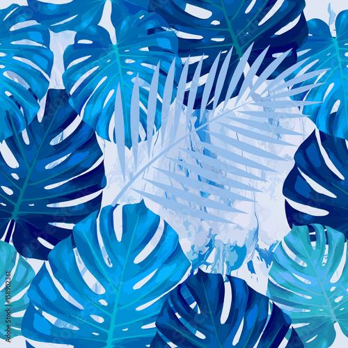 bezszwowy-wzor-monstera-liscie-tropikalne-liscie-palmy-tlo-wektor