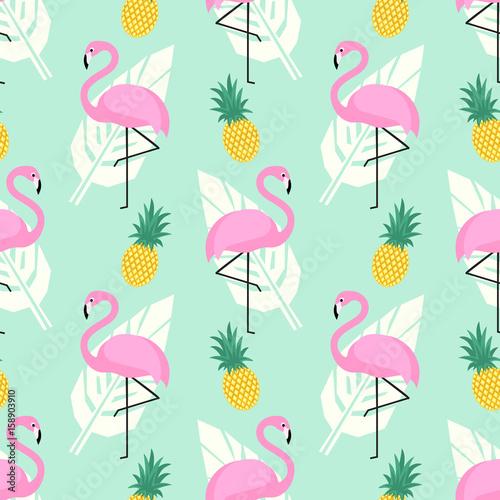 tropikalny-modny-wzor-z-rozowe-flamingi-ananasy-i-lisci-palmowych-na-tle-zielonej-miety-egzotyczne-tlo-sztuki-hawaje-design-na-tkaniny
