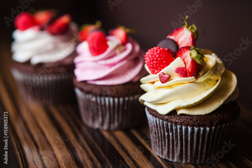 Cupcakes with strawberries and cream Canvas Print