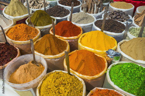 Canvas Prints Condiments Sale of spices in the markets of India