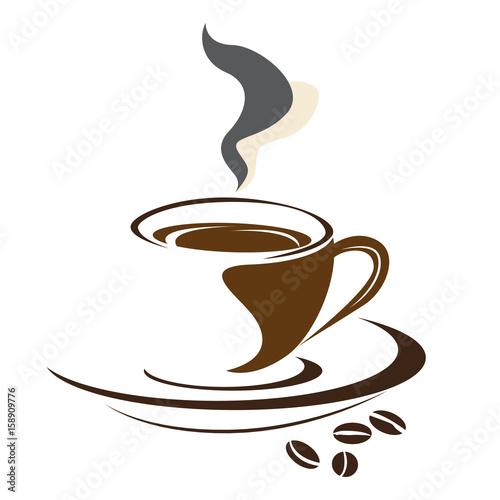 logo-filizanka-kawy-ziarna-kawy-ilustracja