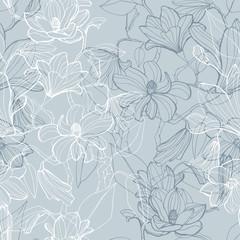 Magnolia blossom seamless pattern