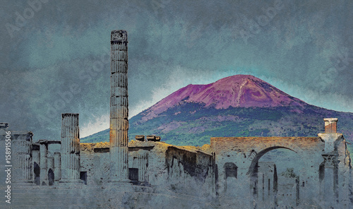 Fotografia The famous antique site of Pompeii, near Naples