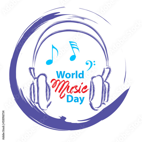 Staande foto Retro sign World Music Day with headphone.