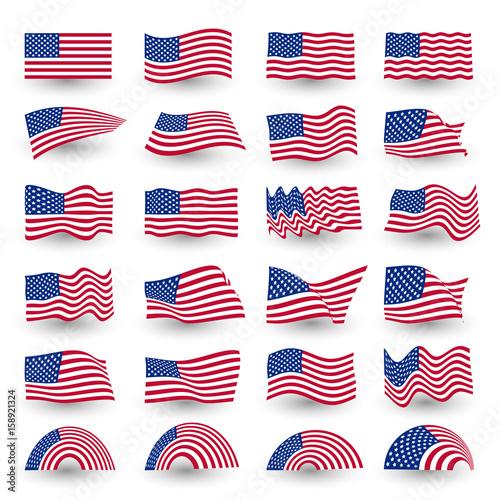 Fotografie, Obraz  Independence day flag set of united states american symbol wavy shape