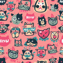 Cute Hipster Cat Faces Kitty Pet Head Avatar Emotion Icons Seamless Pattern Background Vector Illustration