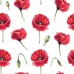 Panel SzklanySeamless floral pattern with beautiful red poppy flowers