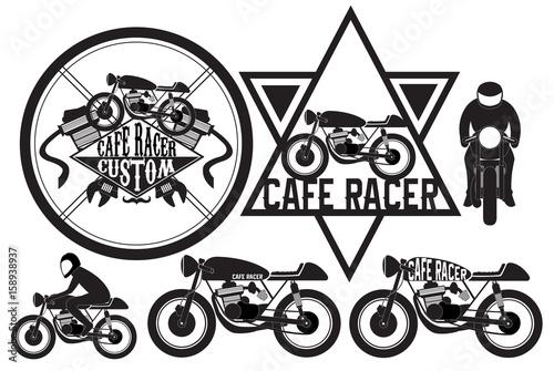 Cafe Racer Motorcycle Logo Design Element Vector Illustration Buy