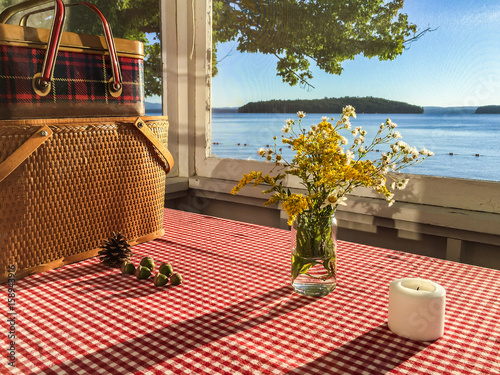 View from a screened porch at a lakefront cottage Fototapeta