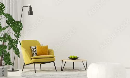 Photo Colorful interior with a yellow armchair