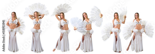 Garden Poster Carnaval Woman in white belly dancer costume .