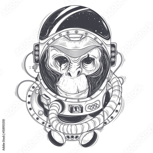 Vector hand drawn illustration of a monkey astronaut, chimpanzee in ...