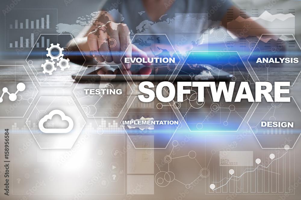 Fototapeta Software development. Data Digital Programs System Technology Concept