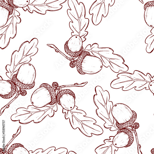 Cotton fabric Cute seamless pattern made of hand drawn acorns and oak leaves.