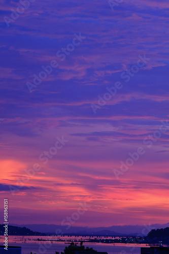 Foto op Aluminium Snoeien View of wonderful sky after heavy rain which has Tinsulanonda bridge at Songkhla lake, Koh Yor, Songkhla province, Thailand