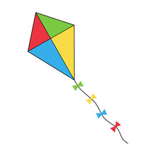 Colorful Flying Kite Icon, Vec...