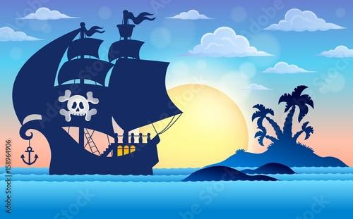 Zdjęcie XXL Motyw sylwetka statku pirackiego 5
