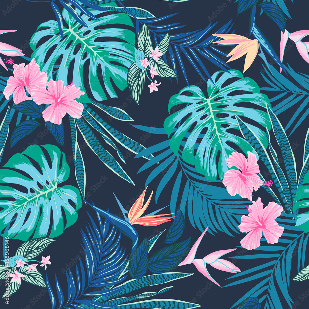 Fototapeta Vector seamless tropical pattern, vivid tropic foliage, with monstera leaf, palm leaves, bird of paradise flower, hibiscus in bloom. modern bright summer print design