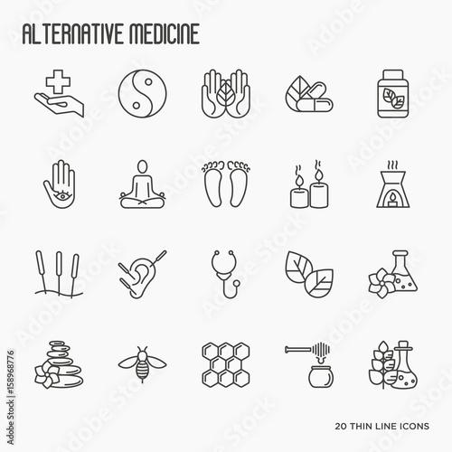 Photo Alternative medicine thin line icon set