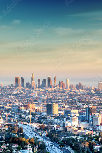 Photo  Los Angeles business district and environs as seen from Hollywood Hills at dusk