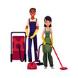 Cleaning service workers in overalls, man and woman, boy and girl, using vacuum cleaners, cartoon vector illustration isolated on white background. Cleaning service workers vacuum cleaning the floor