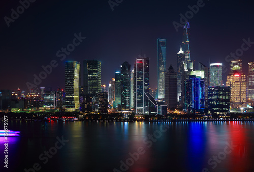 Poster Chicago Aerial photography at Shanghai Skyline of night scene