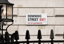 Downing Street, Westminster, London, England UK. Boris Johnson Street Sign Of Downing Street Residence Of UK Prime Minister Stock Photo, Stock Photograph, Image, Picture,