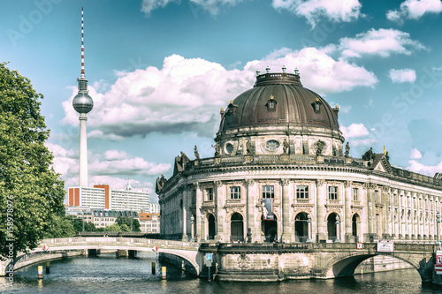 Fotografie, Obraz  Bode Museum Island, Bodemuseum, Museumsinsel and TV Tower on Alexanderplatz, Ber