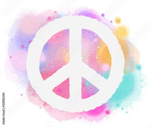 Fotografie, Tablou  Watercolor peace symbol. Digital art painting