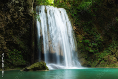 Keuken foto achterwand Watervallen Erawan Waterfall is a beautiful waterfall in spring forest in Kanchanaburi province, Thailand.